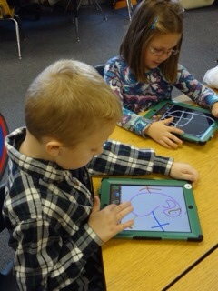Student using an iPad